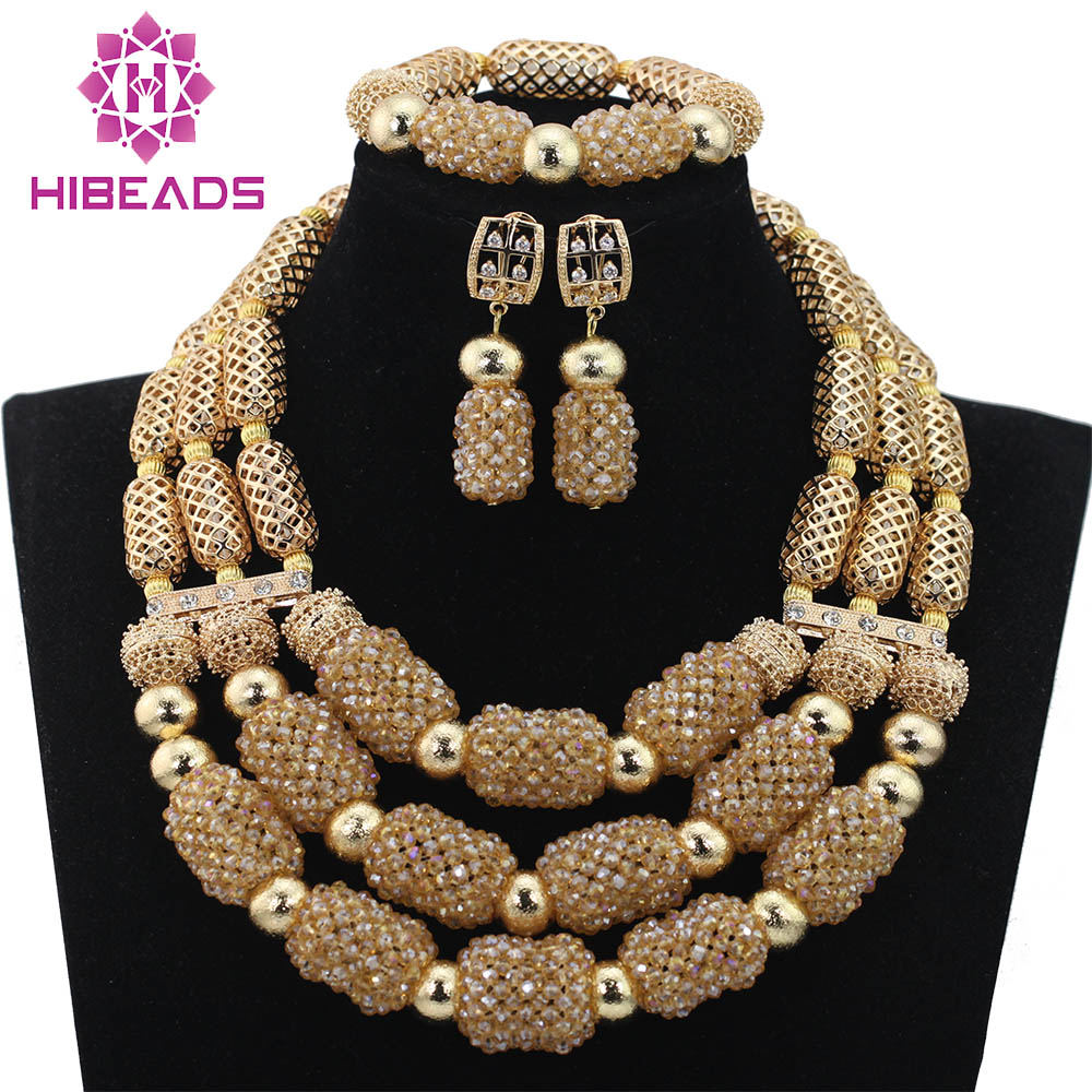 Luxury Champagne Gold Dubai Wedding Beads Crystal Jewelry Set Bridal Inspiration Party Jewelry Accessory Free Shipping