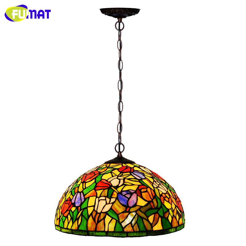 FUMAT Stained Glass Pendant Lamp European Gadern Tulips Shade Glass Art Lamp Living Room Kitchen LED Suspension Pendant Lights fumat stained glass pendant lights small hanging glass lamp for bedroom living room kitchen creative art led pendant lights