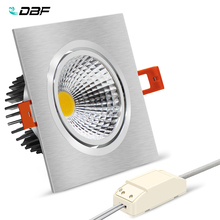 купить [DBF]Super Bright Recessed LED Dimmable Square Downlight COB 7W 9W 12W 15W LED Ceiling Spot Lamp with AC 110V 220V Transformer онлайн
