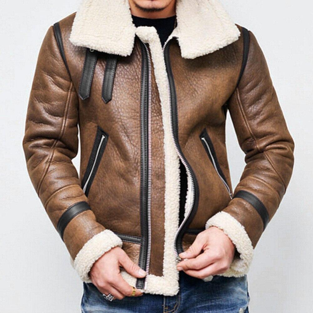 Hombres Otoño Invierno Highneck forro de piel caliente solapa cremallera Outwear capa superior #4O11 # F