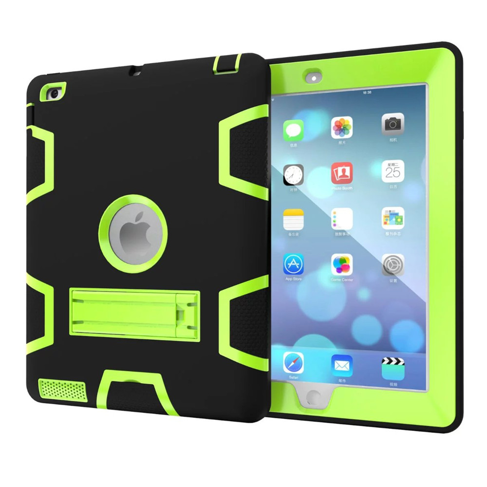Fashion Hot sell Hybrid Armor Case for ipad 2 3 4 Kids Safe Shockproof Heavy Duty Silicone Rubber Hard PC Stand Back Case Cover