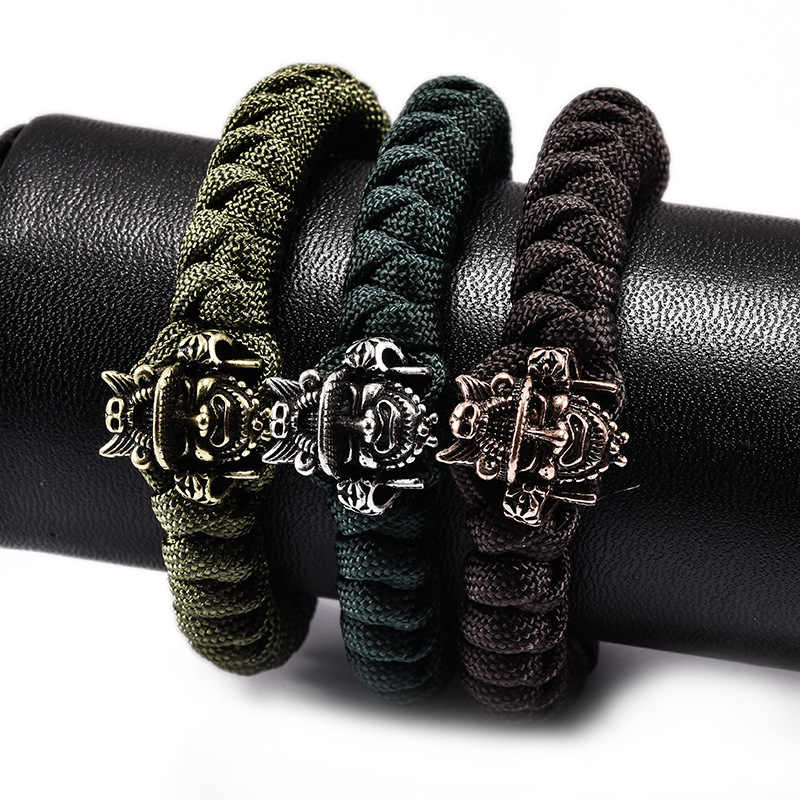 New Fashion Samurai Ghost Head Mask Bracelets Men Charm Survival Rope Chain  Bracelet Male Wrap Metal Sport Weaving alloy