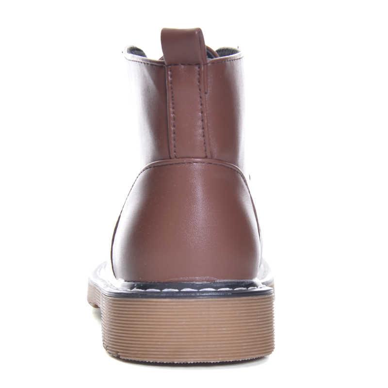 הי גרנד עור מפוצל נשים אופנה מגפי 2018 מטפסי בריטי סגנון קרסול מגפי נעליים יומיומיות אישה תחרה עד דירות XWX6069