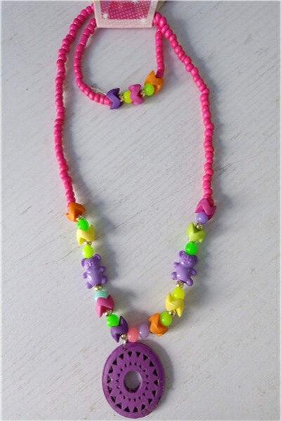 1 комплект, милые подарки для девочек, детские аксессуары для принцесс, наборы, разноцветные акриловые бусины, цветок, ожерелье и браслет - Цвет: 10
