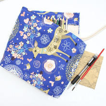 Kawaii Cute Deer Roll School Pencil Case 36/48/72 Holes Canvas Penal Pencilcase for Girls Boys Large Pen Bag Stationery Pouch