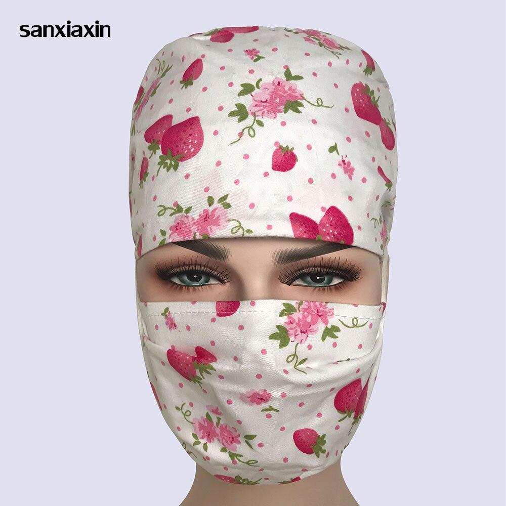 Sanxiaxin Wholesale 100% Cotton Women Surgical  Doctor Nurse Medical Cap  Beautician Cap Printing Cotton Dome Scrub Surgical Cap