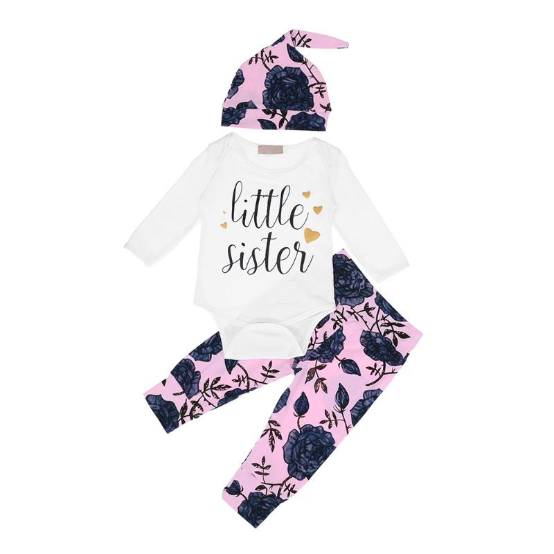 3pcs/Set Baby Girl Clothes Set Long Sleeve Letters Printed Romper Rose Pants Hat Autumn Warm Baby Clothes