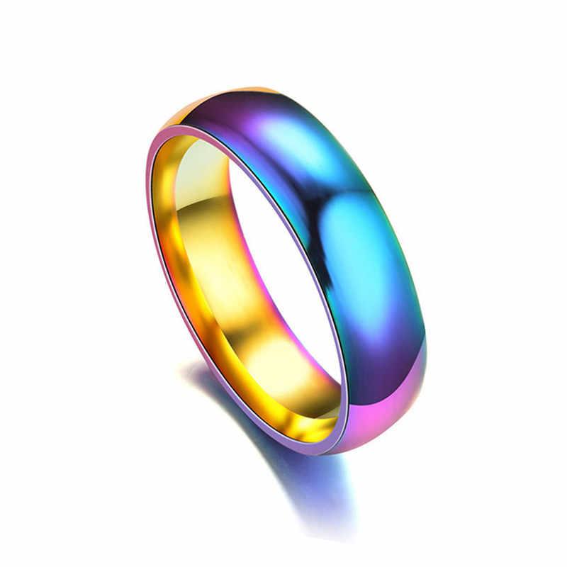 6 มม.สายรุ้งสีสันแหวนไทเทเนี่ยมแหวนคนรักแหวนคู่ Neutral แฟชั่นเครื่องประดับของขวัญ