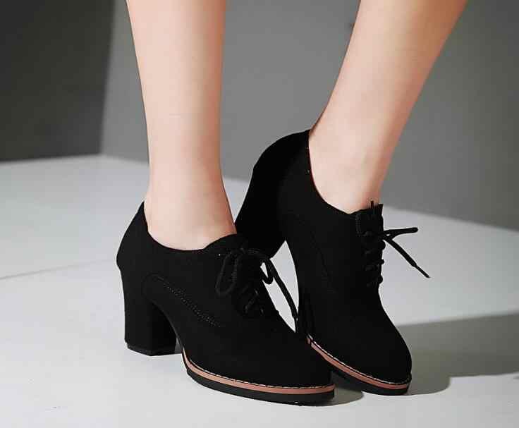 Kadın ayakkabı Moda Sonbahar kısa çizmeler Kadın Süet Dantel Up Blok Yüksek Topuklu yarım çizmeler Bayanlar Ofis Ayakkabı