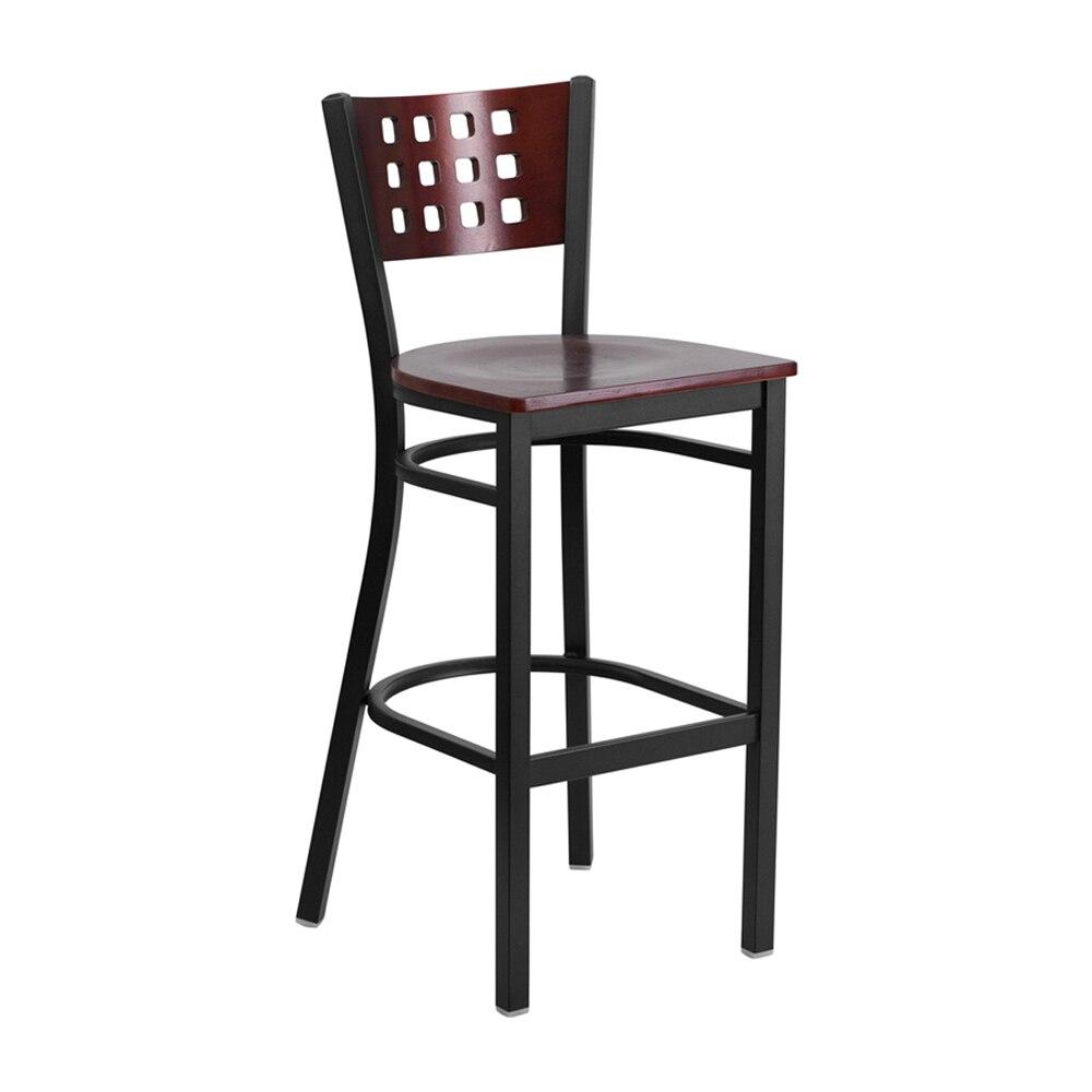 Flash Furniture HERCULES Series Black Decorative Cutout Back Metal Restaurant Barstool - Mahogany Wood Back and Seat batwing sleeve back cutout cropped tee