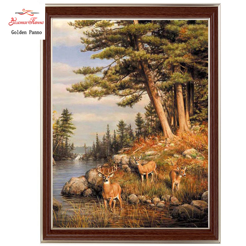 Golden Panno,Needlework,DIY DMC Cross Stitch,Sets For Embroidery Kit 14ct Unprinted Cotton Thread Forest Deer Cross-Stitching