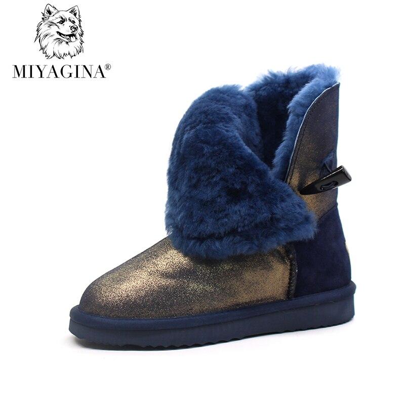 все цены на Top Quality New Fashion Waterproof Women Snow Boots Genuine Leather Winter 100% Natural Fur Botas Mujer Warm Real Wool Shoes онлайн