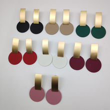 hot deal buy 2018 fashion geometric square round coin earrings for women drop earrings 7 colour matte gold geometric earrings a652-a658
