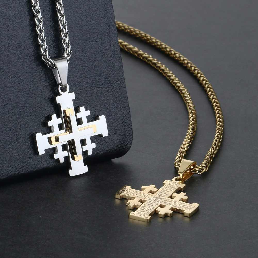 Religious Holy Bible Verse Necklaces for Men Women Stainless Steel Jerusalem Cross Pendant Chain Necklace Medieval Jewelry NC123