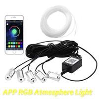 JURUS 6M RGB Fiber Optic Atmosphere Lamps Car Interior LIghting Ambient Light 12V Decorative Dashboard Door Lamp App Control RGB