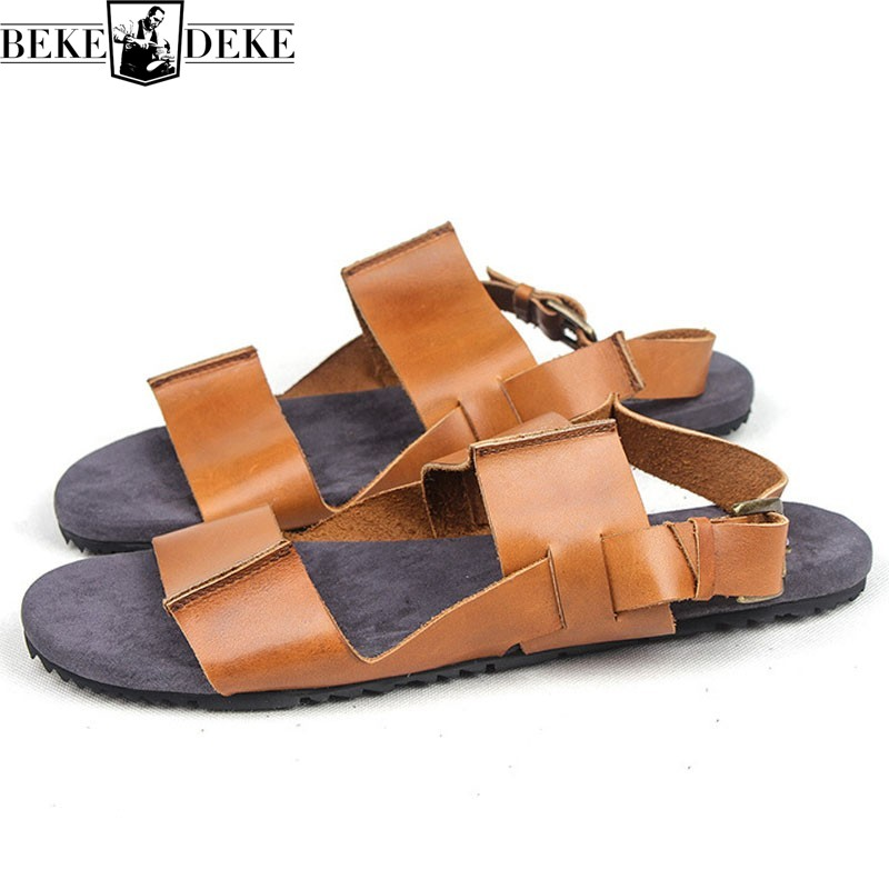 Summer New Mens Shoes Genuine Leather Roman Sandals Vintage Casual Open Toe Outdoor Non-slip Walking Sandalia Masculina Slides