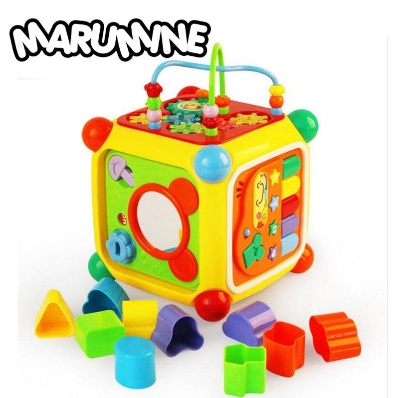 Развивающие детские игрушки музыкальной деятельности Cube с фортепиано игровой центр игрушка 6 функций и навыки обучающие игрушки для игры д... ...