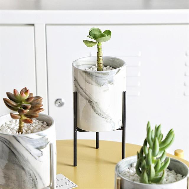 Nordic Style Marble Iron Ceramic Flower Pots Rack Plant Stand Shelf Support for Succulent Plants Flower Vase Home Decor Supplies