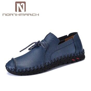 NORTHMARCH/большие размеры; Мокасины мужские кожаные удобные летние туфли; мужская повседневная обувь ручной работы на шнуровке; mocassin homme >> NorthMarch Store