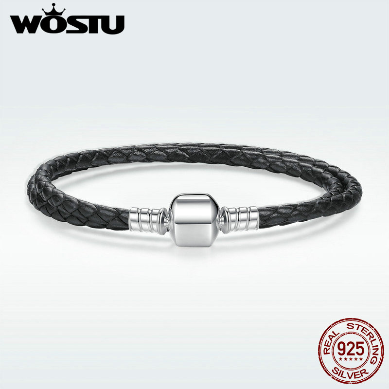 2018 New 100% 925 Sterling Silver & Real Black Leather Chain Charm Fit Pan Bracelet For Women Men Original Fine Jewelry