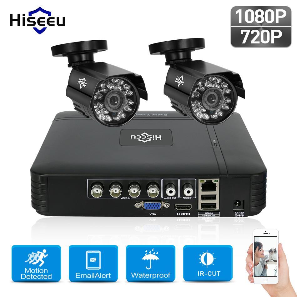 Hiseeu HD 4CH 1080N 5in1 AHD DVR Kit Sistema CCTV 2 pz 720 p/1080 p AHD impermeabile/ cupola di IR Della Macchina Fotografica 2MP P2P di Sorveglianza di Sicurezza Set