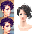 New Side bangs Kinky Curly Synthetic Wig Heat Resistant Fro Kinky Curly Wigs Short Layered Haircuts cosplay cheap Wig for women
