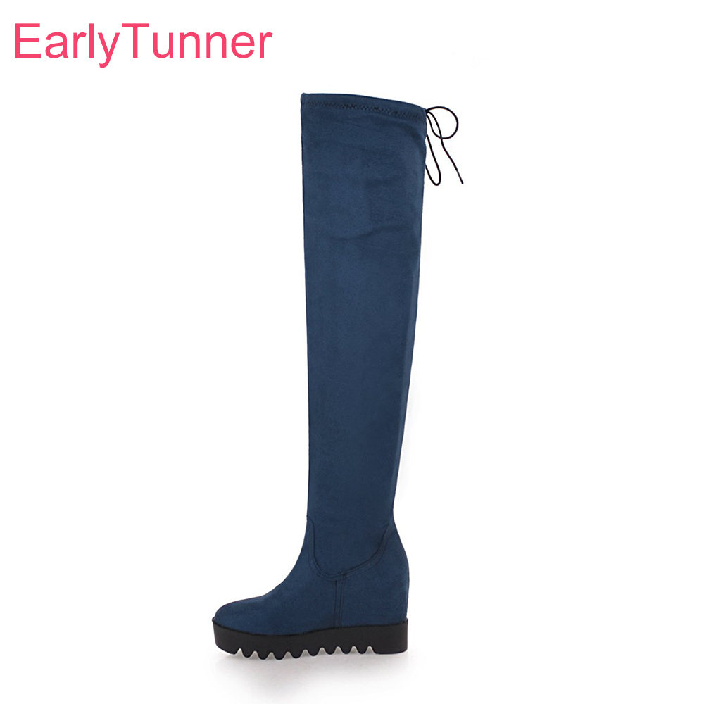 Brand New Winter Comfortable Blue Red Women Thigh High Wedge Boots Vogue Non Slip High Heels Lady Shoes EA5 Plus Big Size 10 43