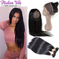 8A 360 Lace Frontal Closure With Bundle Indian Straight Hair Weave With Frontal Closure Raw Indian Hair bundles With 360 Frontal