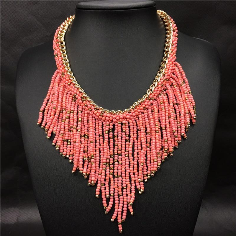 2019 bohème colliers mode pour les femmes bijoux Mujer tissé à la main Collier Long gland perles tour de cou colliers N20 2