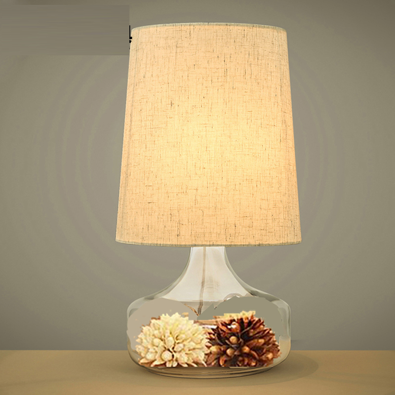 Nordic simple Desk Lamps creative pastoral linen bedroom bedroom living room warm bedside lamp Table lamp CL