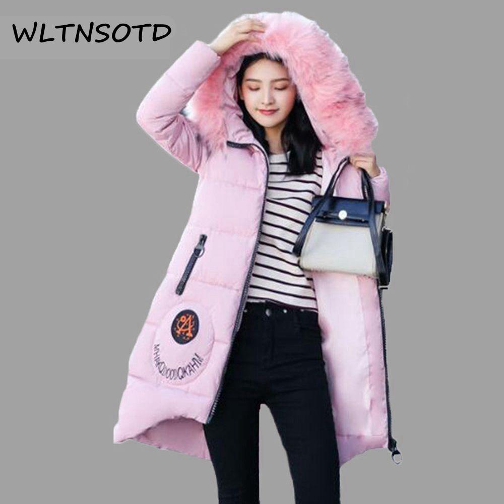 2017 Winter women new font b parkas b font long hooded big fur collar loose jacket
