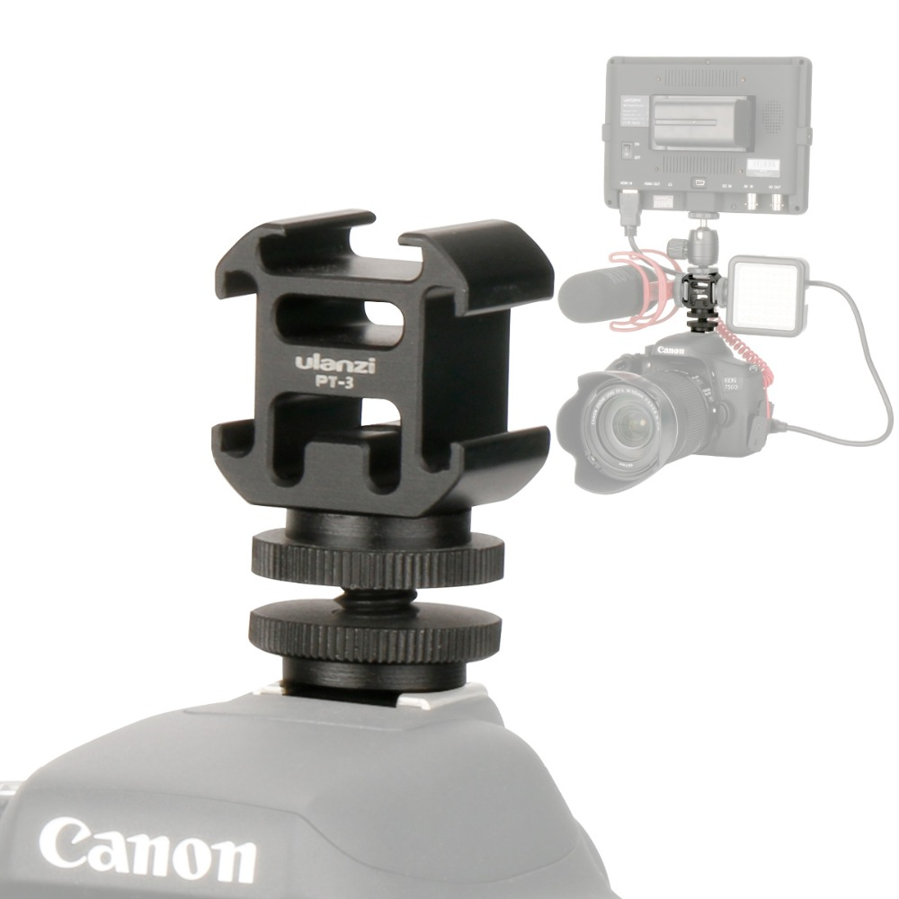 Ulanzi 3 Camera Hot Shoe Mount Adapter with Mount BY-MM1 Microphone Mini LED Video Light for DSLR Camera Canon Nikon Petax