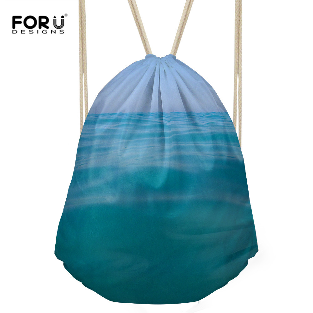 FORUDESIGNS Women Casual Drawstring Bag Sackpack 3D Sea Water Printed Backpack Travel Bag Beach Bag Girls Boys School Fresh Bag