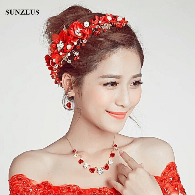 Beautiful Chinese Red Bridal Headbands Hand-made Flowers Crystal HeadPieces  Wedding Party Accessory SQ0207 2f866f62b0e