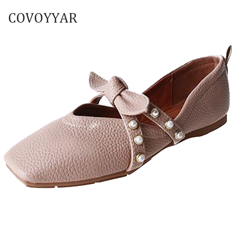 COVOYYAR 2018 Fashion Bow Women Flats Spring Autumn Pearl Square Toe Women Shoes Slip On Ladies Loafers Big Sizes WFS852 beyarne hot sale new fashion spring women flats shoes ladies bow pointed toe slip on flat women s shoes free shipping size34 40