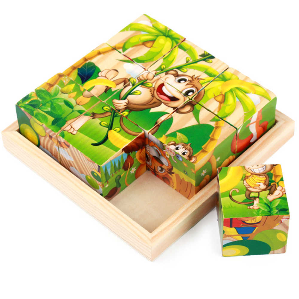 Baby 6 Sides Draw 3D Wooden Puzzle with Pallet Cartoon Animal Educational Developmental Kid  Educational Toys Gift for Children