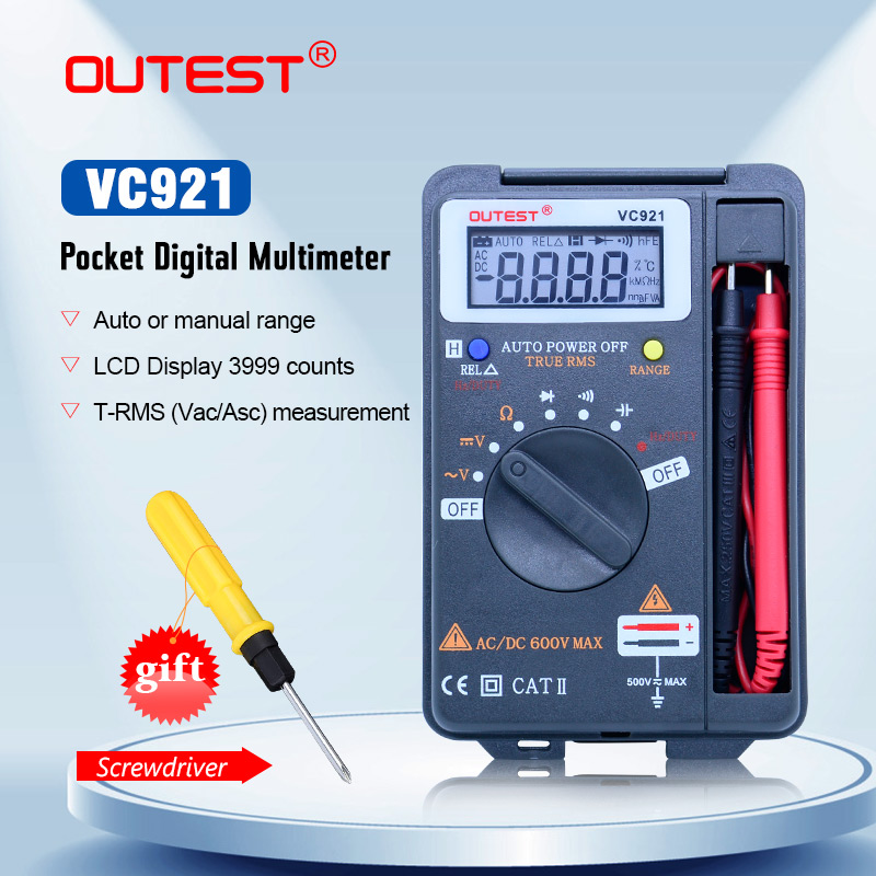 OUTEST VC921 Mini Digital Multimeter True-RMS Auto Range Frequenz AC/DC Spannung 4000 zählt tasche größe meter