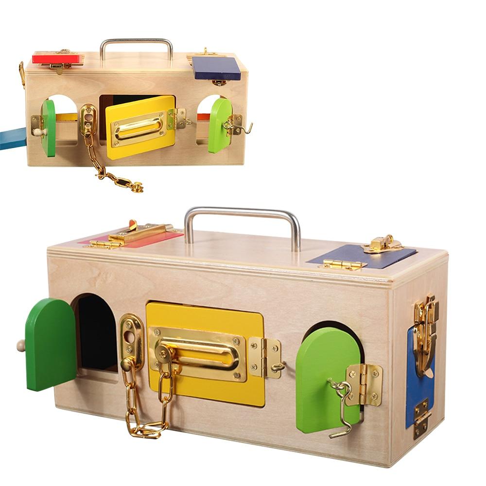 Jouets Montessori en bois petite boîte de verrouillage 3 ans jouets éducatifs en bois sensoriels pour enfants formation Montessori jeux de matériaux