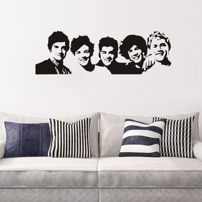 One Direction Vinyl Wall Decal Home Decor Living Room Famous Music  Character Diy Art Mural Removable Wall Stickers In Wall Stickers From Home  U0026 Garden On ...