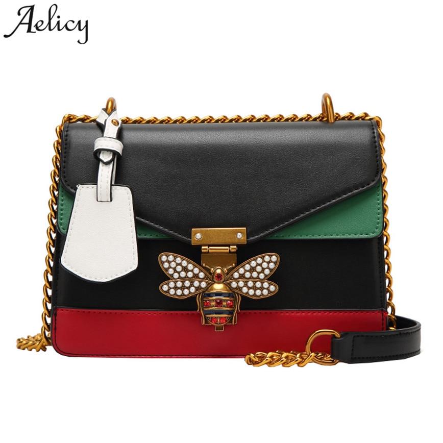 Aelicy Fashion Women HOT Sale Color splicing Little bee Bags Fashion Zipper Designer Handbag Casual Shoulder Messenger Bag side zipper design color block splicing crew neck sweatshirt