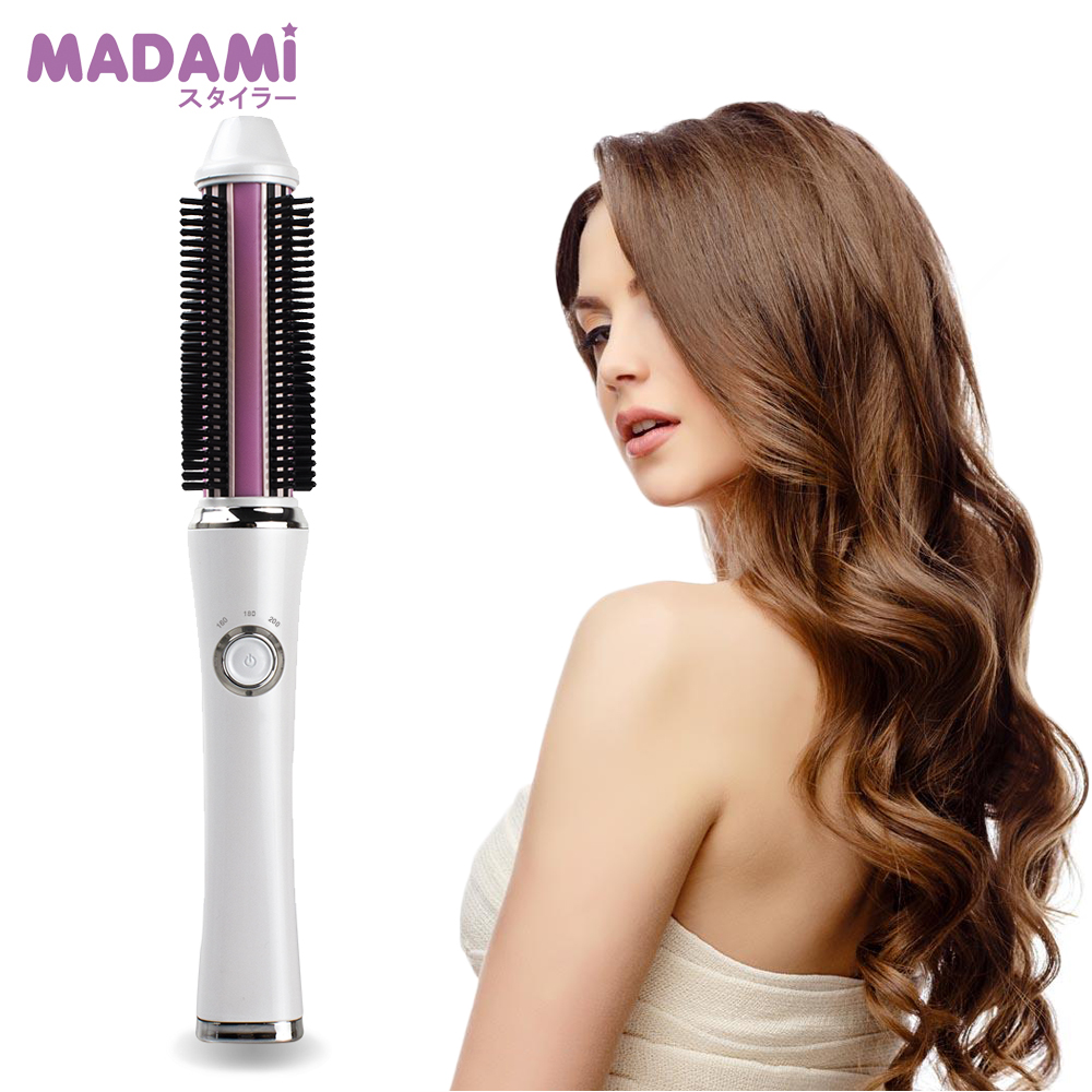 MADAMI Mini Portable Hair Curler Brush 2 in 1 USB Wirele Electrical Curling Irons Comb Brushe Rechargeable Straightening Iron 2 in 1 rainbow comb volume hair brush hairdressing mirror tool travel household necessity