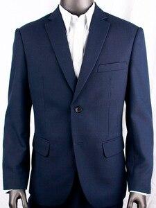 Image 2 - 紺くぎの頭ビジネス男性スーツカスタムメイドスリムフィットウールブレンド鳥の目の結婚式のスーツ、テーラーメイド新郎スーツ