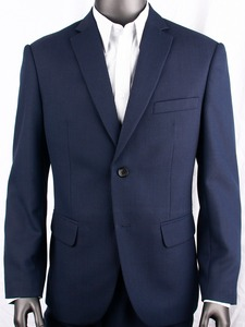 Image 2 - Marineblauw Nailhead Zakelijke Mannen Pakken Custom Made Slim Fit Wol Blend Vogel eye Wedding Suits Voor Mannen, tailor Made Bruidegom Pak