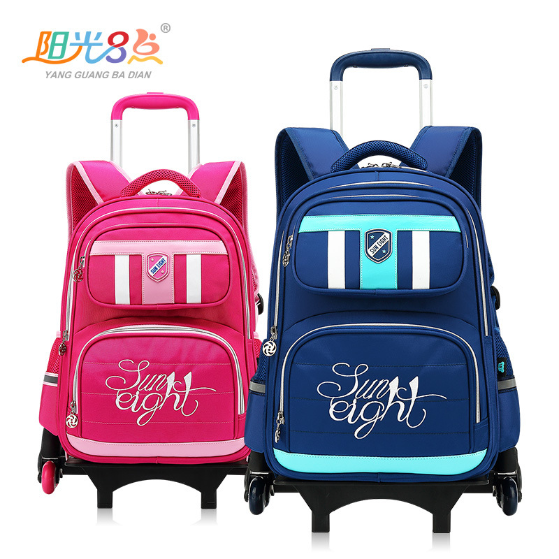 Removable Trolley school bag 6 wheeled schoolbag waterproof Night Reflective children backpack bags Travel luggage For boys girl unisex school bag for children waterproof nylon reflective tape backpack spine protected design