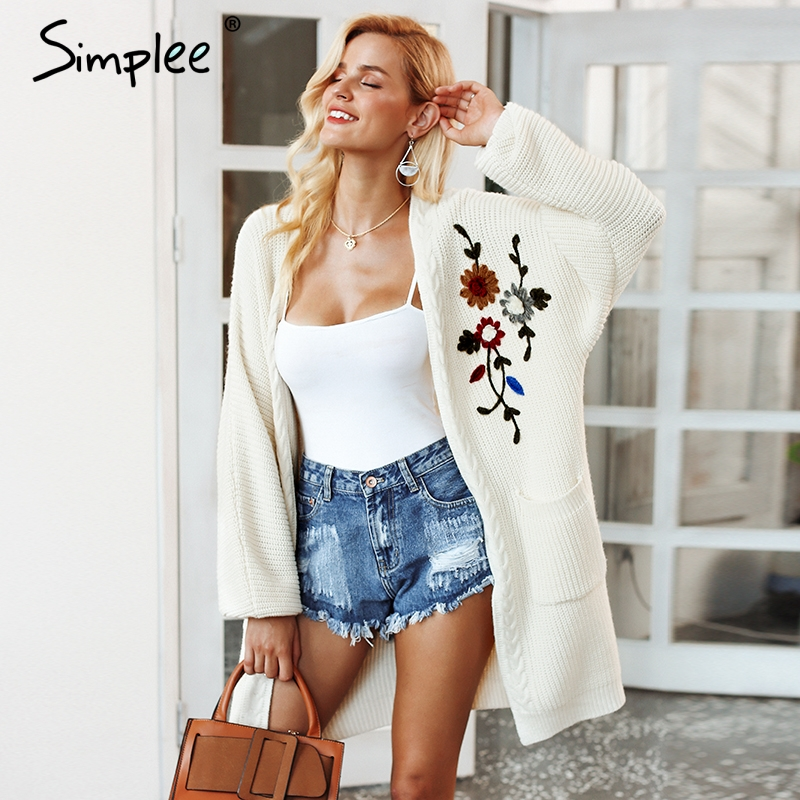 Simplee Embroidery Flower Knitted Long Cardigan S18ST0072