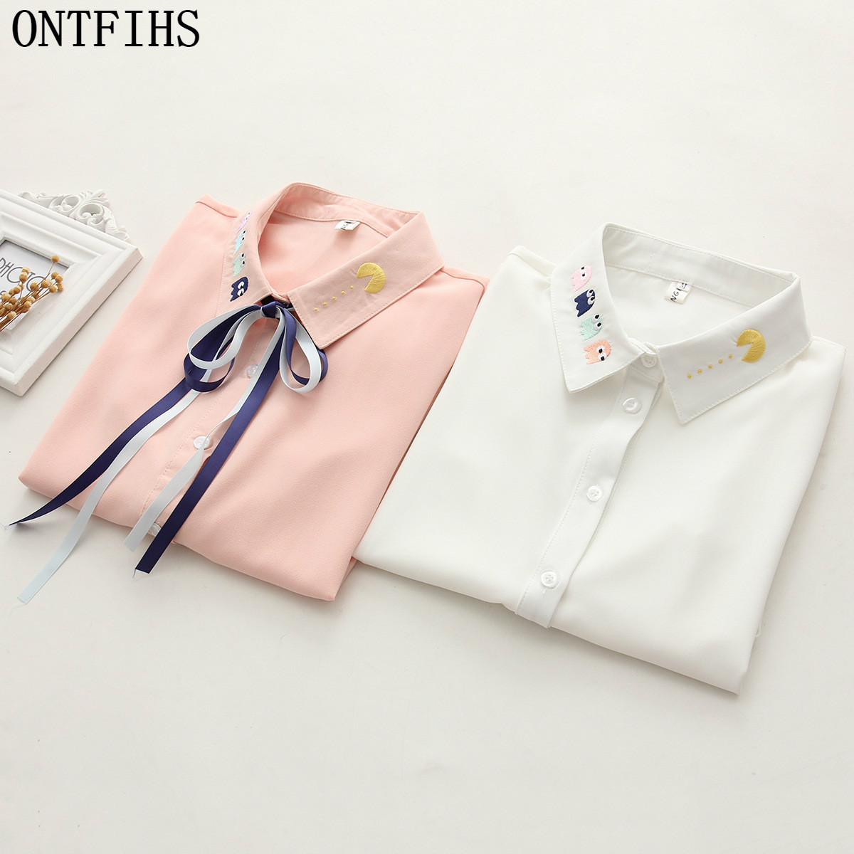 ONTFHIS Shirts Embroidery with Bow Tie Womens Tops and Blouse Women's Fashion Novelties Cardigan S-79
