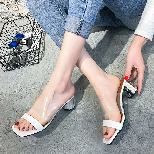 2daef64e646 Transparent pumps high heel sandals Sexy women summer peep toe comfortable  heel mules white black slides