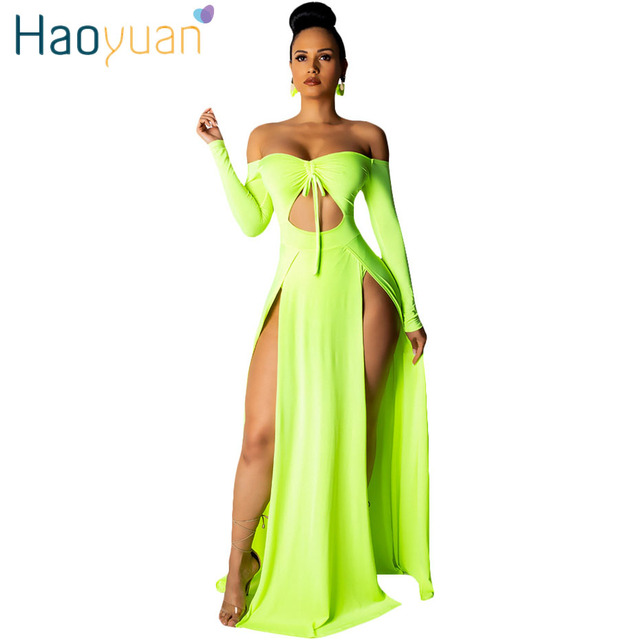 96af5f5d559ad HAOYUAN Neon Green/Red/White Off Shoulder Cut Out Lace Up Maxi Dress Women