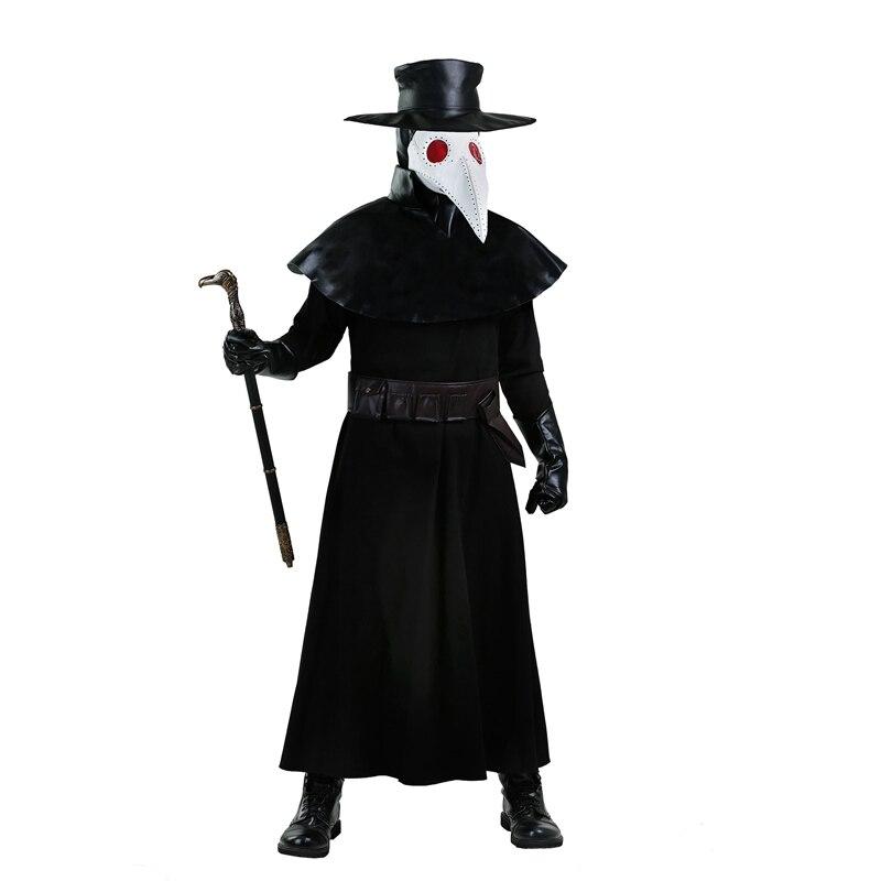 Страшный взрослый средневековый черный смерть чума Доктор костюм для мужчин характер ужасов фильм символ страха Хэллоуин наряжаться