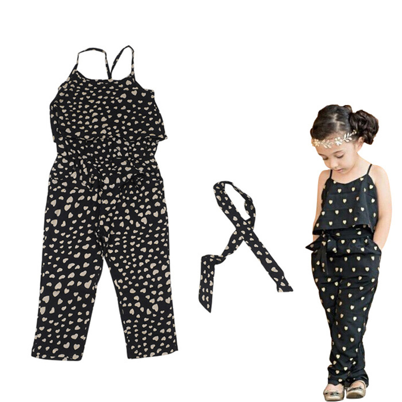 cf1861d00ce9 Aliexpress.com   Buy Kids Baby Girls Summer Heart Pattern Jumpsuit Romper  Trousers With Belt Outfits from Reliable Clothing Sets suppliers on The ...